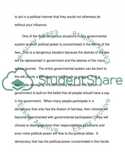 What is political power? What is liberal representative democracy? Which of the ideological perspectives provides the best perspective on freedom and equality? Admission/Application Essay example
