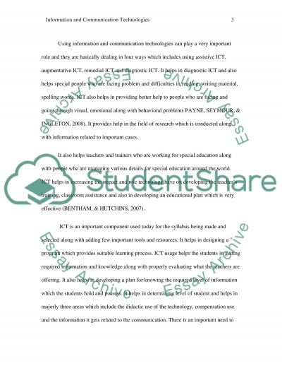 ICT and SEN essay example