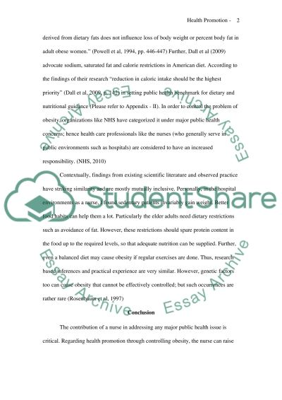 HEALTH PROMOTION essay example