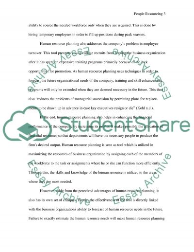 People Resourcing and Reward essay example