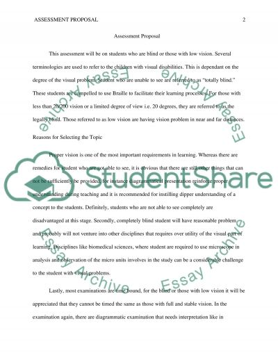 Assessment Proposal, essay example
