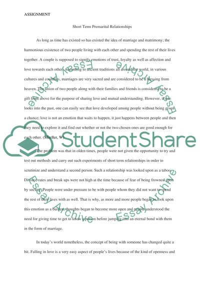 Counseling paper on short term premarital relationships (why do they succeed or fail)