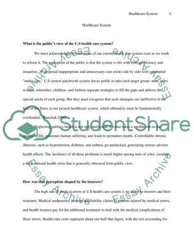 Healthcare system Essay essay example