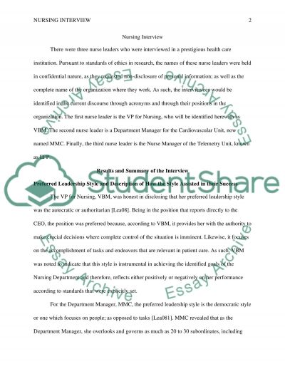 Nursing interview Term Paper example