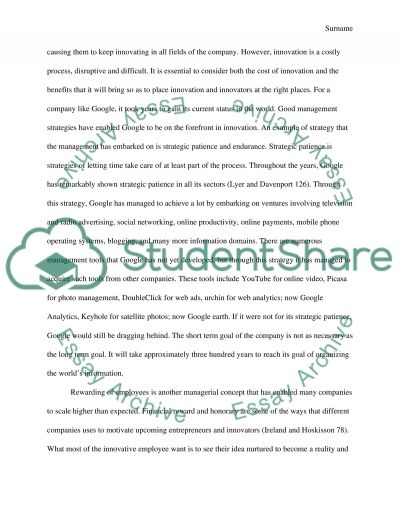 Managed innovation Essay example