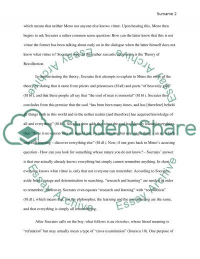 Platos Meno Research Paper essay example