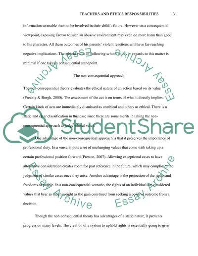 Teachers and Ethics Responsibilities