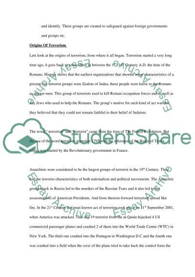 War on terrorism College Essay essay example