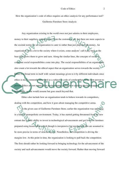 Organizations Code of Ethics essay example