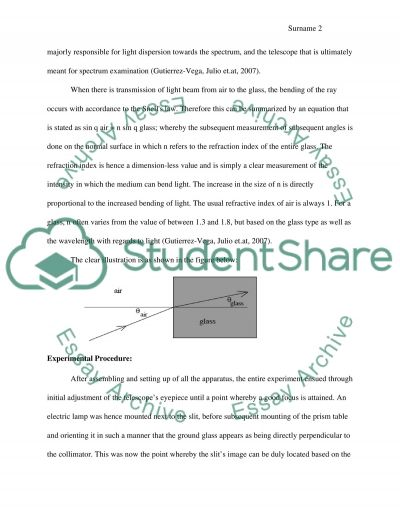 Lab report about prism spectrometer essay example