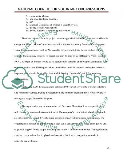 voluntary organisations essay