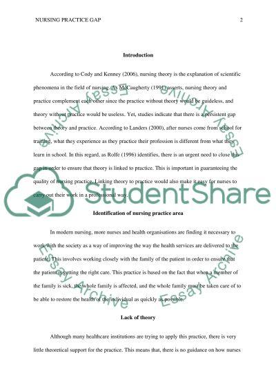 Nursing Practice Gap Paper essay example