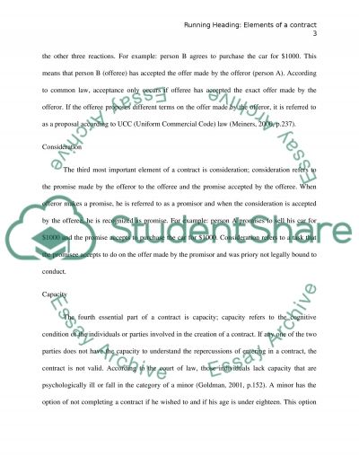 elements of a contract essay