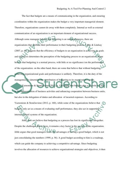 Critically evaluate budgeting as a tool for planning and control essay example