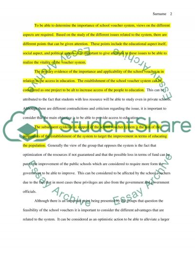 School Vouchers essay example