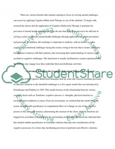 Cognitive Behavioural Therapy essay example