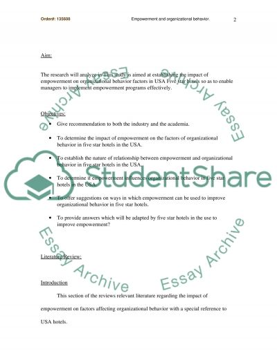 Empowerment and organizational behavior essay example