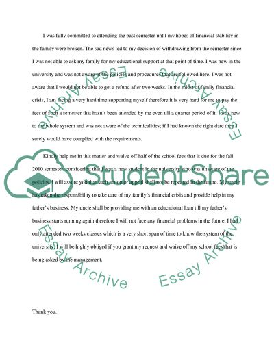 Sample Letter Of Request For Waiver Of Overpayment from studentshare.org