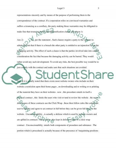 Legal Questions for essay example