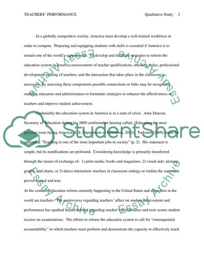 The Relationship Between Science Teachers Performance in the Classroom and Student Achievement: A Correlational Qualitative Research Study