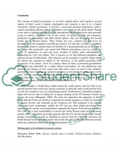 Define Global Governance essay example