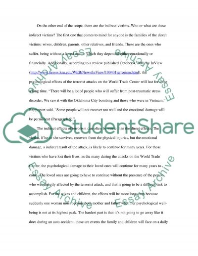 Terrorism and Its Indirect Victims essay example