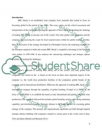 BRL Hardy essay example