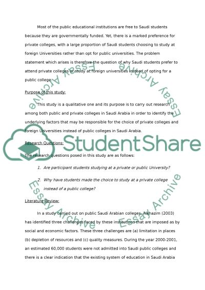 Factors Effecting Students Selecting Private Colleges In Saudi Arabia