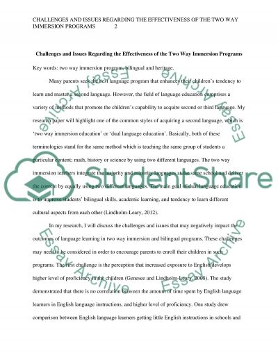 Challenges and issues regarding the effectiveness of the two way immersion program essay example