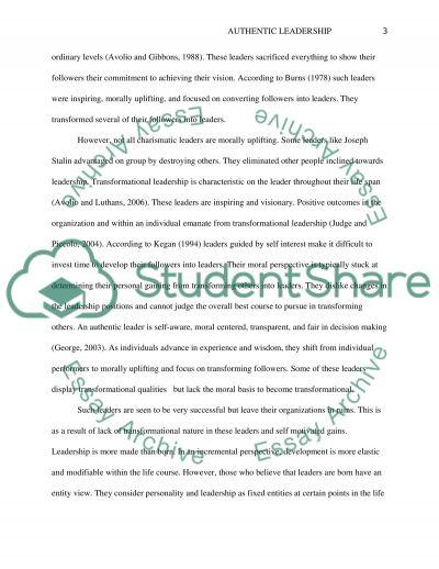 Authentic Leadership essay example