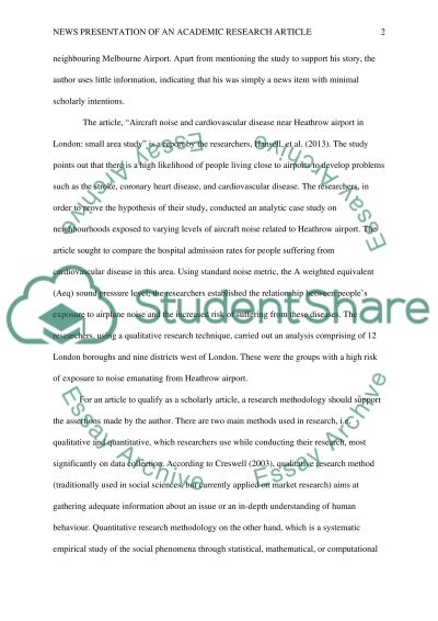 Analysis of news presentation of academic research essay example