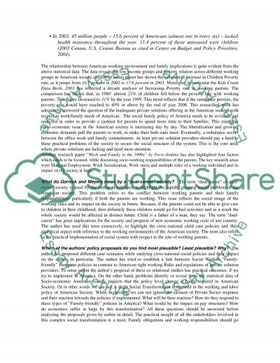 Working Environment and Family essay example