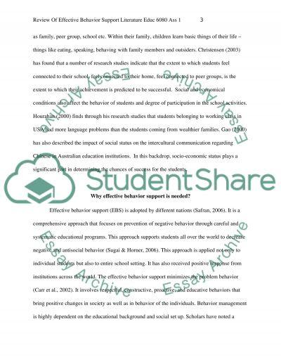Effective Behavior Support essay example