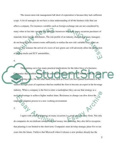 Resistance to change, strategic thinking, learning curve and risk management essay example