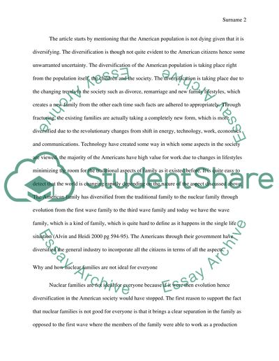 Response essay ( the mordern types of families )
