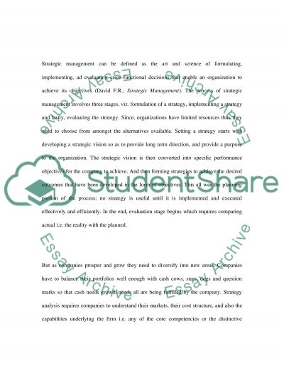 Strategic Analysis and Choice essay example