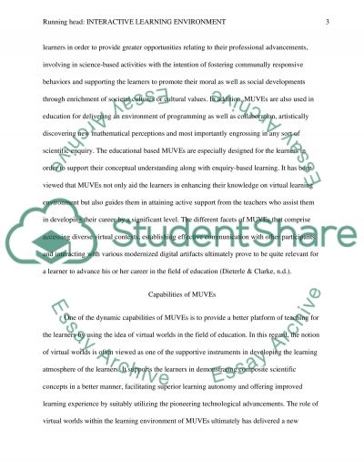Interactive Learning Environment essay example