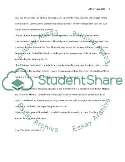 Partnership Accounting essay example