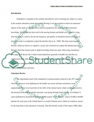 Using Simulations in Nursing Education essay example