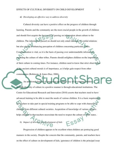 Cultural diversity and its effects on child development essay example