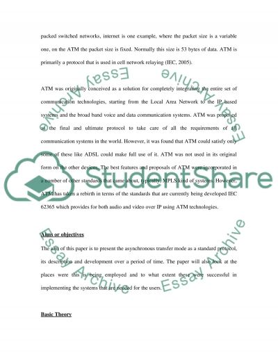 Asynchronous Transfer Mode Description and Development essay example