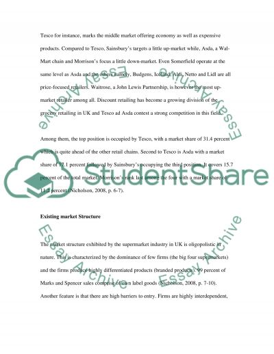 Analyse the structure of the UK supermarket sector essay example