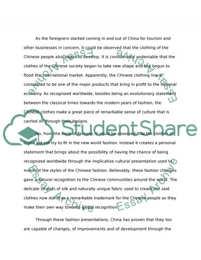 CHANGING CLOTHES IN CHINA Essay example
