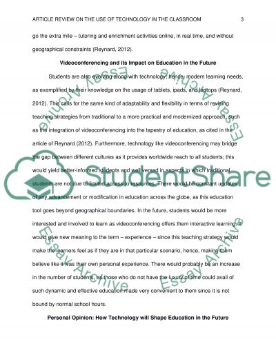 Article Review on Technology in Education essay example