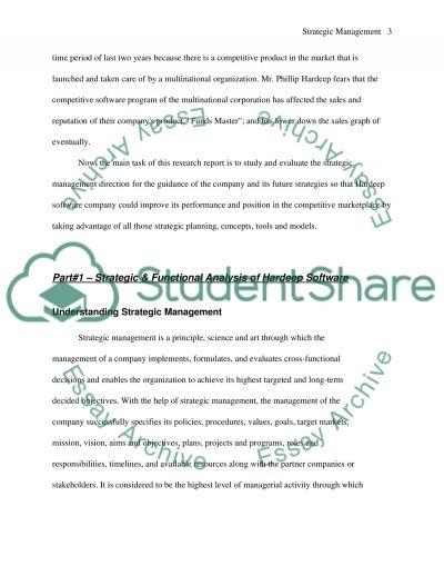 Strategic Management direction essay example