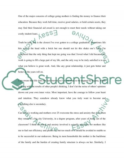 Where I am going. My Personal Story as a Proud Mother of Two essay example