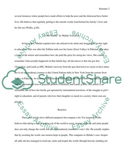 Comparing essay (between fith works lesson 2 by Jim Wallis and malala by Malala from page 308to 313