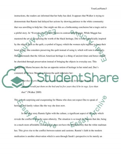 critical analysis of two short stories walker s everyday use and essay  text preview