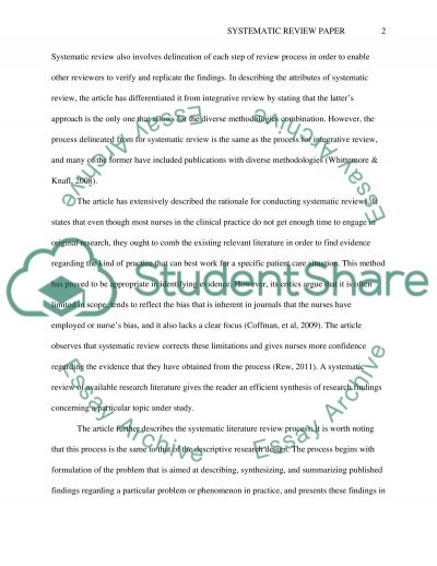 Systematic Review Paper essay example
