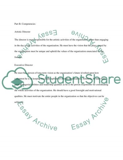 Staffing and defining an arts organization essay example